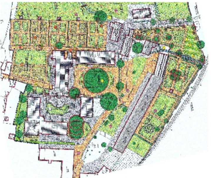 Maßnahmenplan aus der Denkmalpflegerischen Zielplanung 2001, Quelle: Wolf Blumenthal Gesellschaft für Freiraumplanung mbH