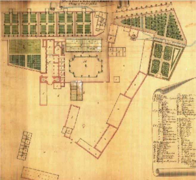 Plan um 1737, gefunden beim Einzug des Evangelischen Zentrums ins Kloster Drübeck